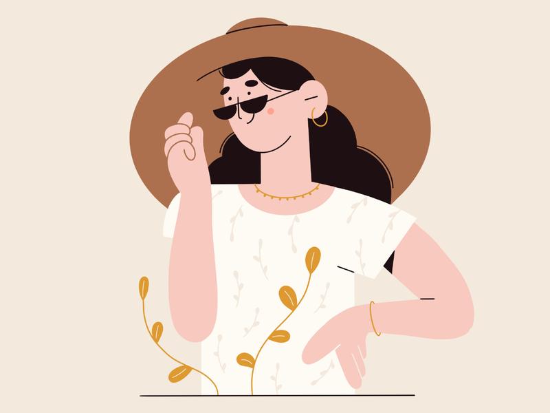 Summer girl hat sunglasses minimal art plants summer illustration 2d vector art flat vector illustration character design character