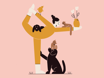 LOVE yoga cat dog flower plant minimal art animals flat illustration illustration 2d vector art vector illustration character design character