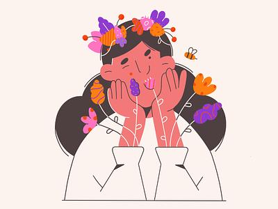 #semklo10k vector illustration minimal art dtiys challenge nature bee summer flowers illustration 2d face vector illustration character design character