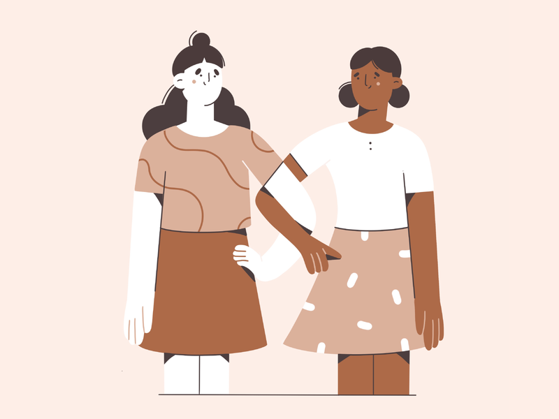 Together 🤎🤍🖤 minimal art love support friends equal together illustration illustration 2d vector art character design character