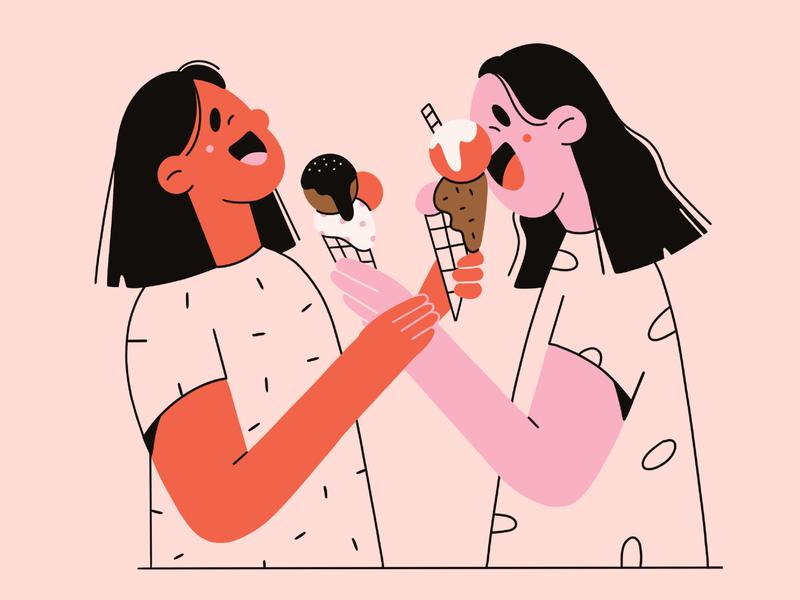 Ice-cream illustration 2d minimal art pattern love friends girls ice cream vector illustration vector art fun laugher character design character