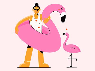 summer love beach summer love summer love flamingos flamingo flat  design illustration 2d illustration art vector art illustration character design character