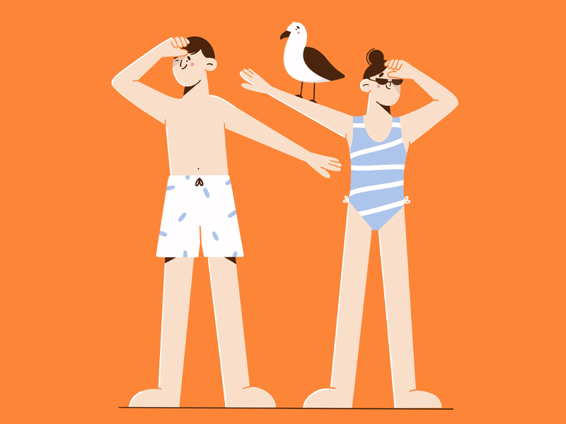 where are you? bird warm people couple summer swim wear swimsuit beach vector artwork minimal art flat illustration illustration 2d vector art illustration character design character