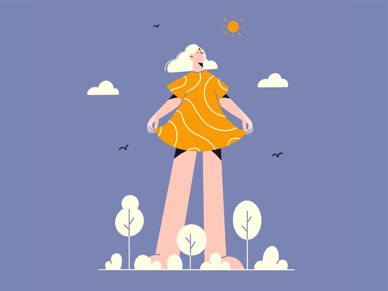 Beautiful day girl dress nature day sun face minimal art minimal illustration 2d vector art illustration character design character
