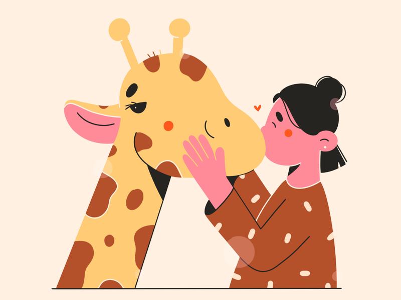 kiss animal love girl giraffe kiss vector art illustration 2d vector illustration character design character