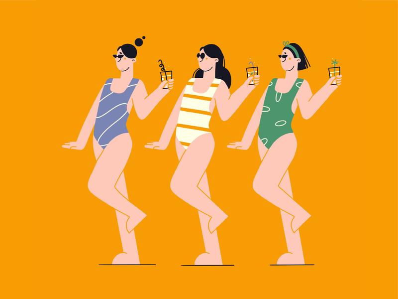 Beach time swimwear sun summer girls coctails beach vector illustration minimal art flat minimal illustration 2d vector art illustration character design character