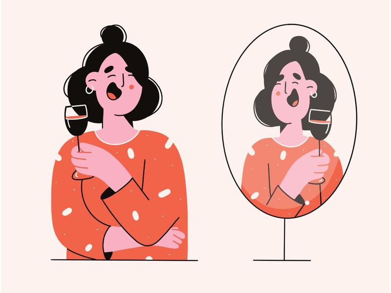 Cheers 🖤 happiness smile laugher wine pattern minimal art illustration 2d minimal vector art vector illustration character design character