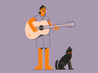 Let's sing together! music happiness friends artist guitar singer singing doggy dog vector minimal art illustration 2d vector art illustration character design character