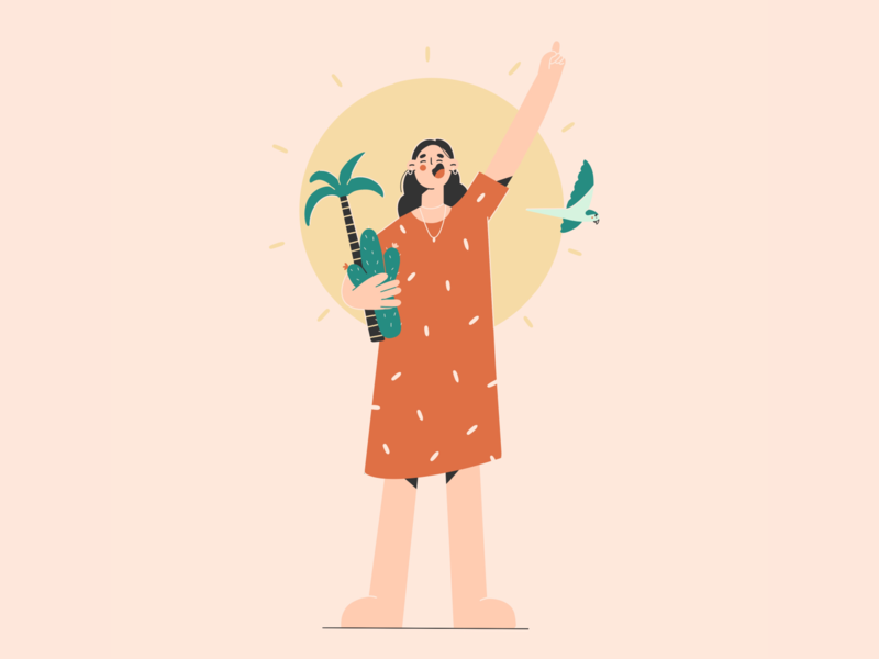 Holidays on the island holiday summer sun cactus palmtree parrot girl minimal art illustration vector illustration 2d vector art character design character