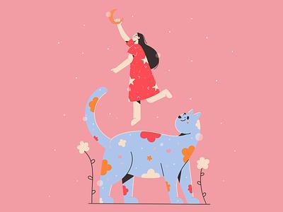 Touch the sky stars dream sky pattern moon girl kitty cat minimal art illustration 2d vector art illustration character design character