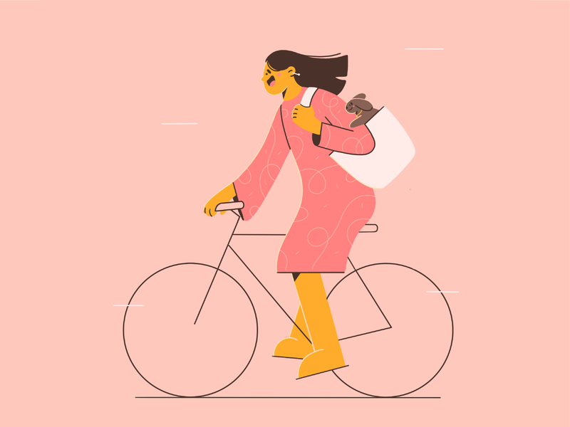 The wind in her hair happy girl friends dog wind speed bicycle doggy cute minimal art flat illustration 2d vector art illustration character design character