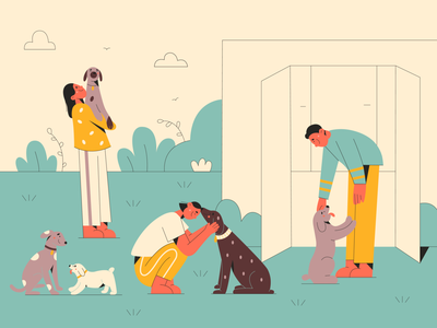 Dog shelter dog illustration help love cute doggy dog shelter shelter dogs dog minimal art illustration 2d vector art illustration character design character