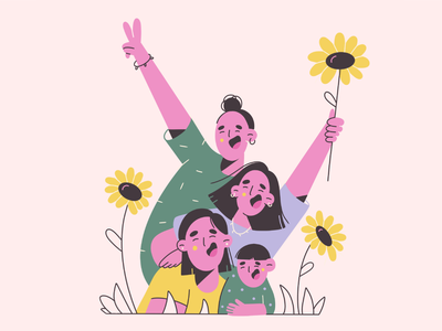 family time flat illustration vector illustration pattern cute fun love pic picture flowers sunflower family girls minimal art illustration 2d vector art illustration character design character