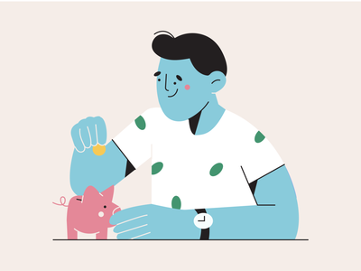 saving piggy bank save saving flat minimal face minimal art vector illustration 2d illustration vector art character design character