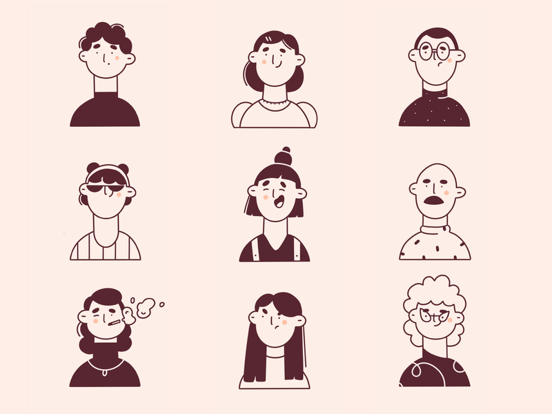 faces people expression faces line artwork line art minimal cute minimal art illustration 2d vector vector art illustration character design character