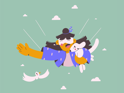 in the clouds! bird flying traveling sky clouds doggy dog face illustration minimal art minimal vector illustration 2d vector art illustration character design character