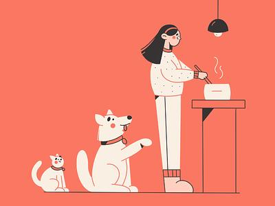 Cooking flat illustration pets animals cat dog cooking minimal art vector illustration 2d vector art illustration character design character