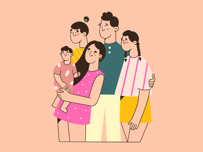 family picture colors happiness characters picture family flat illustration vector art minimal art illustration 2d character design character
