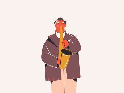 Music saxophonist saxophone happiness man colors musician music animated gif gif minimal art illustration 2d vector art illustration character design character