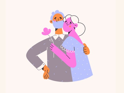 My love web illustrations hug flower love boy girl cute clean minimal art illustration 2d vector art illustration character design character