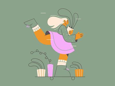 Let's go! lineart web illustration skateboard plants girl minimal art vector illustration 2d vector art illustration character design character