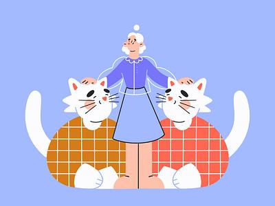 my kittens pattern love care kittens cat contrast lines line art vector illustrator vector minimal art illustration 2d vector art character design character
