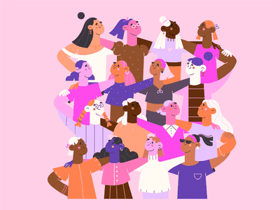 Together diversity avatars flat characters cute characters blog illustration web illustration love team work team support women support people together girls minimal art illustration 2d vector art illustration character design character