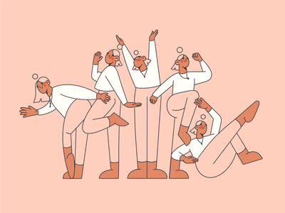 Dance workout women exercises team working together body positions body positive workout girls dance minimal illustration blog illustration web illustration line illustration line art minimal art illustration 2d vector art illustration character design character