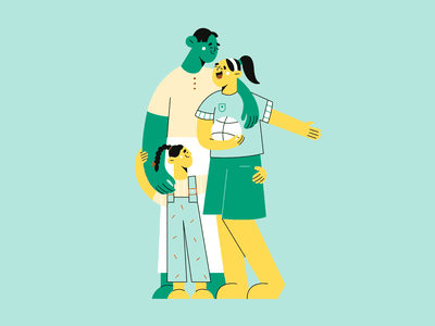 Illustrated for Help Me Grow web illustration minimal illustration blog illustration cute characters happiness sport basketball sisters proud father family vector minimal art illustration 2d vector art illustration character design character