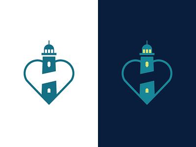H + Heart/Guidance Logo debut negative space identity heart logo guidance logo mark branding lighthouse logo