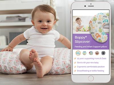 Pillow Slider boppy baby iphone user experience mobile first web design slider ux ui
