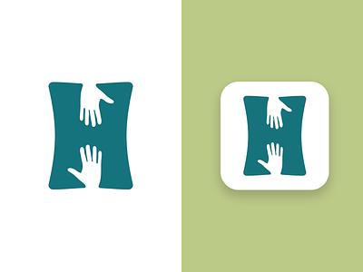 Helping Habit final logo symbol helping hand logo volunteer user interaction branding app icon app