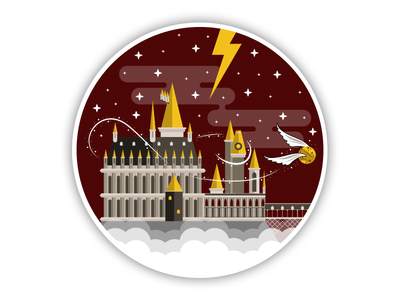 Hogwarts - Sticker Mule UK Playoff vector united kingdom sticker mule scotland stars quidditch london lightning illustration hogwarts harry potter castle
