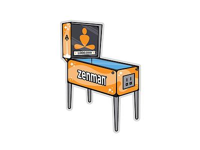 Zenman Sticker Pack sports retro pinball games rocket set pack illustration sticker