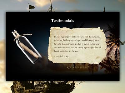 Message In A Bottle paralax pirates web design website ui testimonial murder mystery