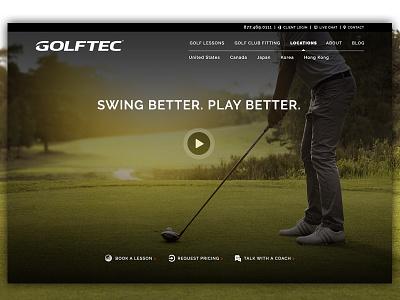 Golftec Hero golf website ui hero web design masthead