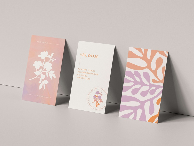 Business cards for a floral installation artist. florist brand floral design florist matisse painted logotype handmade business card mockup brand identity logo branding design