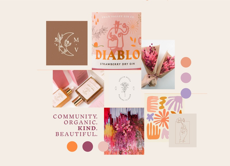 Moodboard for a Floral Artist's Branding color blocking color palette sunset palette florist colorful bold moodboard brand identity branding design