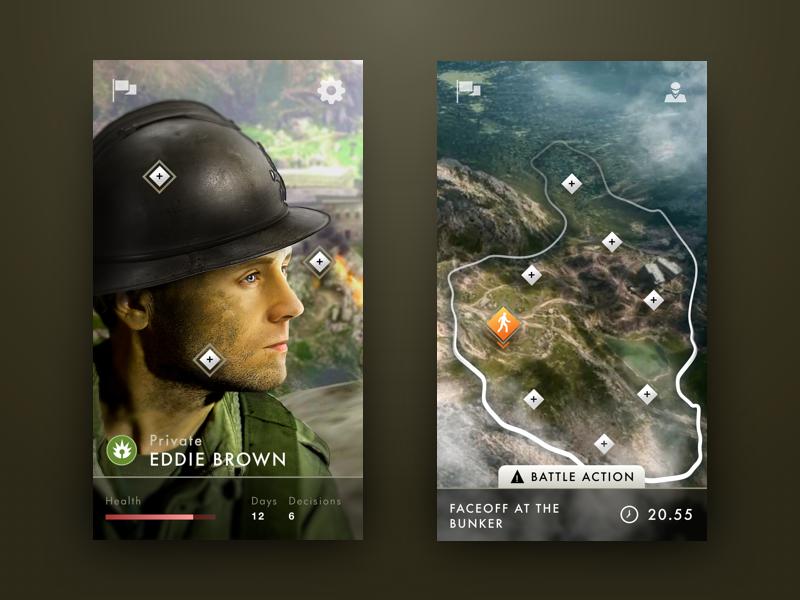 Battlefield: Lost Soldier soldier battlefield menu ios interface war concept art game mobile ui ux