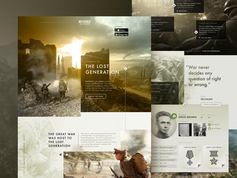 The Lost Generation uiux battlefield game soldier brown world war 1 war tribute website