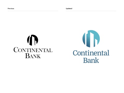 Continental Bank - before & after logodesign logo financial services brand identity banking