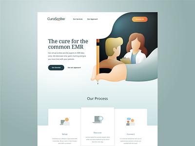 CuraScribe - website homepage illustration gradients medical logo medical brand identity brand branding webdesigns website