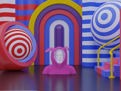 Bunny colors shapes self portrait blender 3d stripes bunny