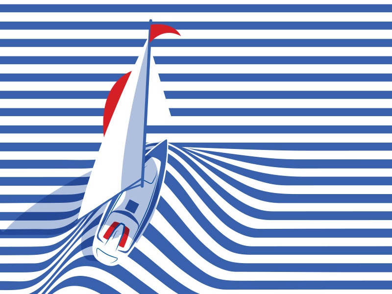 Float with me stripes red blue dolce boat