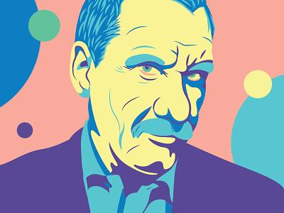 Paolo Conte vector colors paolo conte portrait illustration
