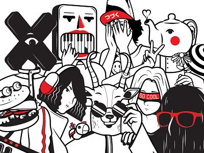Randomness x burger hair monster teapot illustration dubai comic characters japanese red black