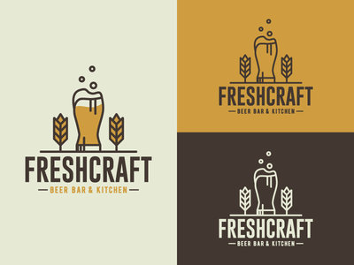 Freshcraft - Beer bar and kitchen beer craft beer vintage logo typography logotype logodesign brand identity logo design branding craftbeer logo designs logo design illustration design vintage vector graphic design branding