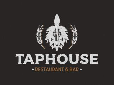 Taphouse - Vintage design vintage logo logo design logo illustration branding brand hops distressed vintage bar restaurant beer craft beer