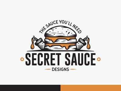 Secret Sauce Designs - Vintage Logo logos burgers restaurant illustrations brand agency brand logo design logo adobe illustrator illustration vector vintage graphic design branding