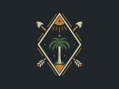 Paradise Hunter - Vintage Tee Design outdoors streetwear apparel distressedunrest badge design vintage badge nature t-shirt graphic tees retro logo graphicdesign arrow palm trees paradise illustration retro vintage adventure graphic tee